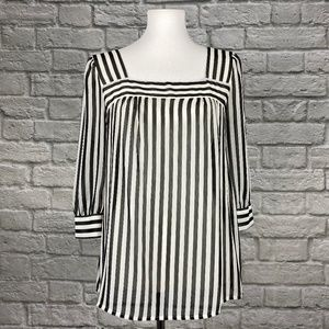 Pins and Needles Black White Striped Sheer Top